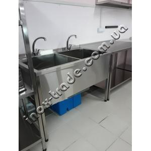 Ванна моечная 2-х секционная из нержавейки (800х500х850)