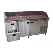 Стол для пиццы Tehma с гранитной столешницей 2 двери + 2 ящика, 3 борта