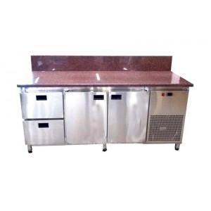 Стол для пиццы Tehma с гранитной столешницей 2 двери + 2 ящика, задний борт