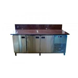 Стол для пиццы Tehma с гранитной столешницей 3 двери, задний борт
