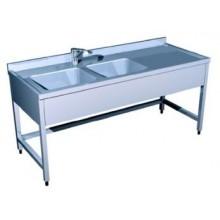 Ванна моечная производственная на 2-е ванны (1500х500х850)